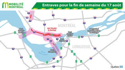 Entraves pour la fin de semaine du 17 août (Groupe CNW/Ministère des Transports, de la Mobilité durable et de l'Électrification des transports)