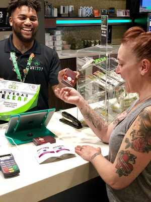 Chef Mindy Segal makes the first purchase in Nevada of her Mindy's Edibles products.