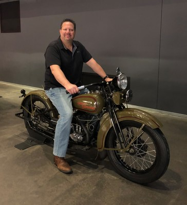 Army Reserve veteran Joseph Voboril tests out some of the earlier Harley Davidson prototypes during the tour.
