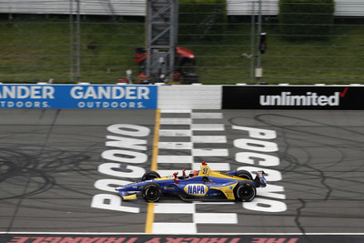 Honda driver Alexander Rossi scored his fifth IndyCar Series win of 2018 Sunday at Pocono Raceway.