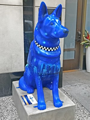 Combined Insurance K9 'Rhett' displayed at 40 E Grand in Chicago, Ill.