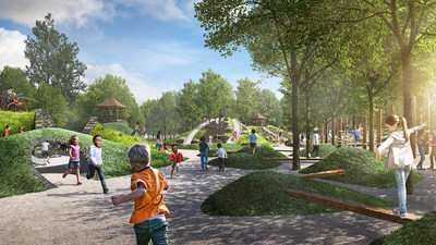 Rendering of the SYNNEX Share the Magic Playground in Greenville, SC's Unity Park