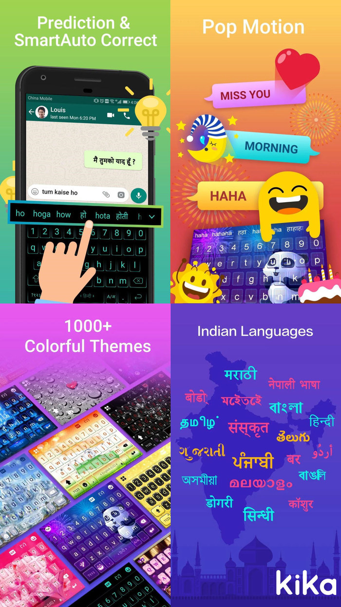 New Kika Indian Keyboard features language support, text prediction, smart auto-correct and localized content