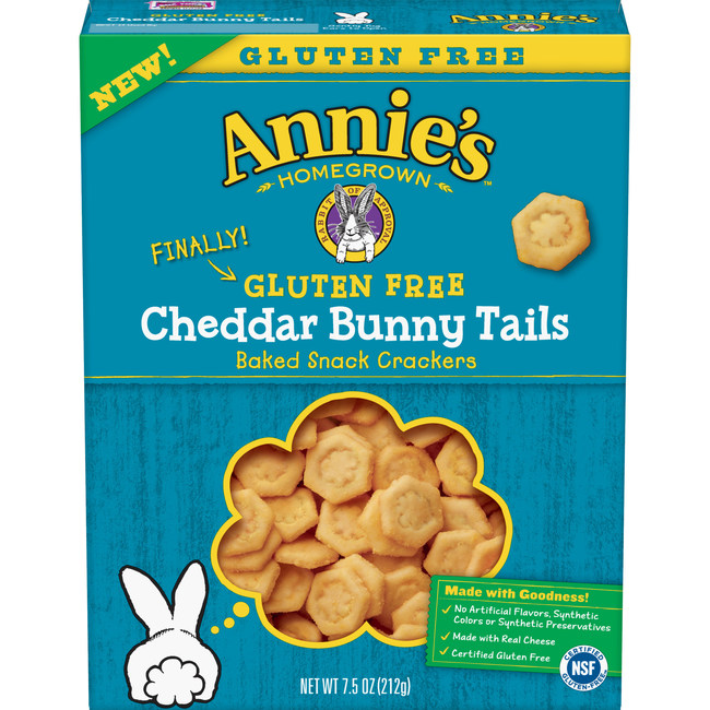 After receiving hundreds of notes from fans over the years, Annie's Inc., known for its beloved Cheddar Bunnies, is proud to announce the launch of Gluten-Free Cheddar Bunny Tails – a delicious, crispy cracker made with real cheddar cheese and gluten-free goodness. Just in time for back to school, these new gluten-free goodies allow more kiddos to snack the Annie's way: no artificial flavors, synthetic colors or synthetic preservatives and full of flavor.