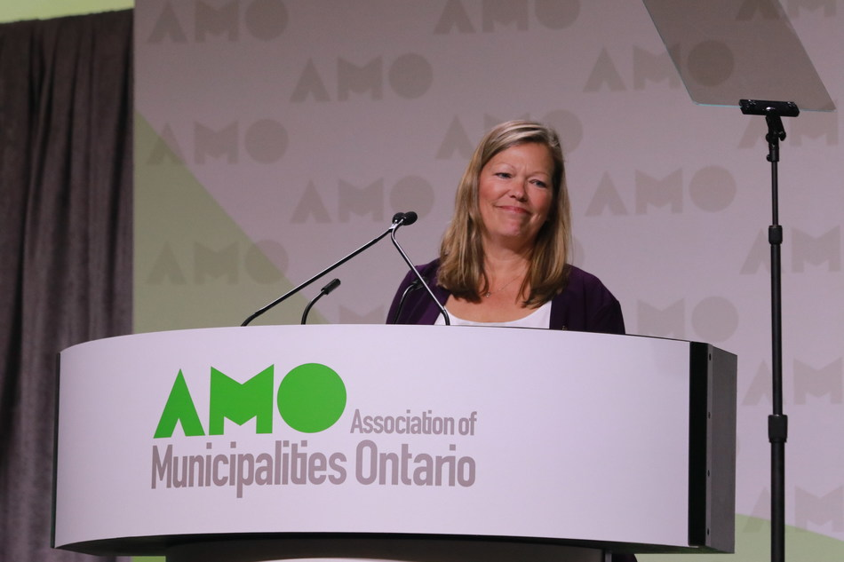 AMO President Lynn Dollin at the 2018 AMO Conference in Ottawa. (CNW Group/Association of Municipalities of Ontario)