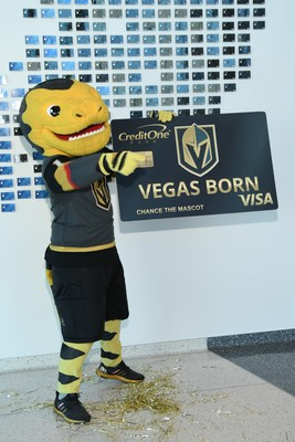 Vegas Golden Knights mascot Chance posing with the highly anticipated Credit One Bank Vegas Golden Knights Credit Card