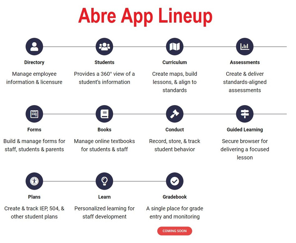 Abre adds three new apps to its Education Management Platform, totalling 10. The new apps include a Forms app for building and managing forms for staff, students and parents; a Plans app for creating and tracking individual student plans such as IEPs and 504s and, lastly, a Learn app that enables the distribution and tracking of personalized learning content for staff development.