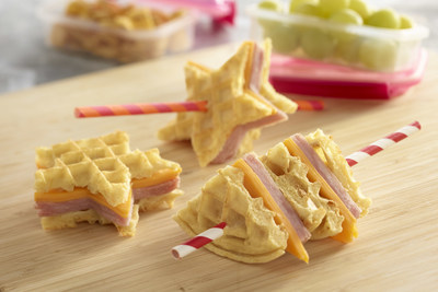Waffle fun shape sandwiches with a paper straw