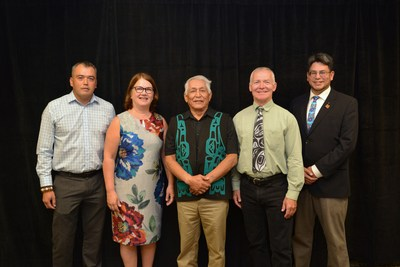 From Left : Huu-ay-aht Culture and Wellness Program Administrator Edward R. Johnson, Minister Philpott, Huu-ay-aht Chief Councillor Robert J. Dennis Sr., Minister Fraser, Huu-ay-aht Councillor John Jack (CNW Group/Indigenous Services Canada)