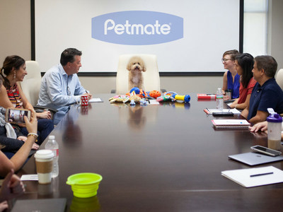 Petmate Chief Four-Legged Officer Charlie Chernick meets with toy team