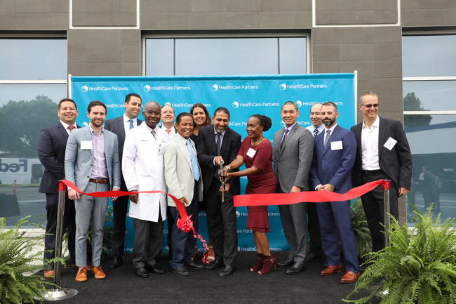 Physicians, teammates, local public officials, and development partners celebrate the opening of HealthCare Partners' new downtown Los Angeles medical office and urgent care center.