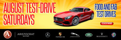 Enjoy food and fabulous luxury vehicles in August with Test Drive Saturdays at Aristocrat Motors.