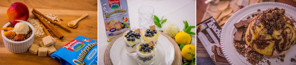 Wafer Peach Cobbler, Blueberry-Yoghurt Parfait and Zuccotto Crunch by Chef Christian Pritchard for Loacker Canada (CNW Group/Loacker Canada)