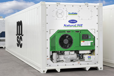 MSC is investing in the latest generation green technologies with 2,000 refrigerated containers that use Carrier Transicold's NaturaLINE® unit, which innovatively uses the sustainable natural refrigerant carbon dioxide. The containers are being leased through SeaCube Containers.