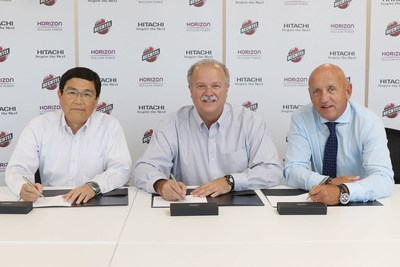 Horizon Nuclear Power and Bechtel Corporation sign deal for Wylfa Newydd power station project. Pictured from left to right: Chikara Takeuchi, Managing Director, Hitachi Nuclear Energy Europe Ltd.; John Atwell, Project Management Contractor and Project Director, Bechtel Corporation; and Duncan Hawthorne, Chief Executive Officer, Horizon Nuclear Power.