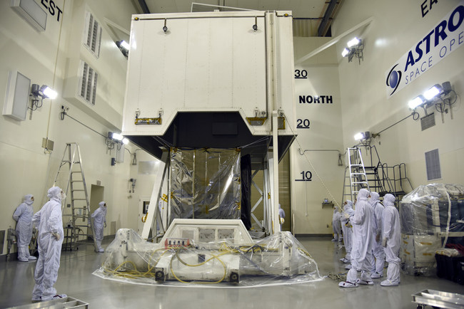 NASA's Ice, Cloud and land Elevation Satellite-2 (ICESat-2) spacecraft arrives at the Astrotech Space Operations facility at Vandenberg Air Force Base in California ahead of its scheduled launch on Sept. 15, 2018. Credit: U.S. Air Force/Vanessa Valentine