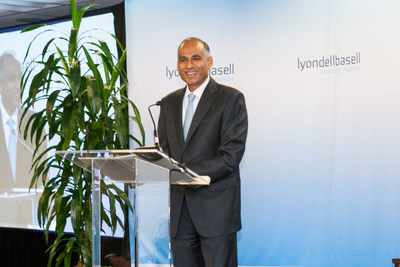 LyondellBasell CEO Bob Patel speaks at today's groundbreaking event, detailing the $500 mm economic impact that the new $2.4 billion plant will have on the greater Houston area.
