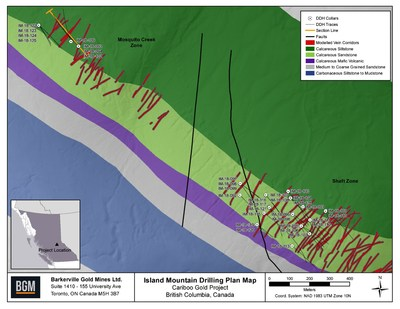 Island Mountain Drilling Plan Map (CNW Group/Barkerville Gold Mines Ltd.)