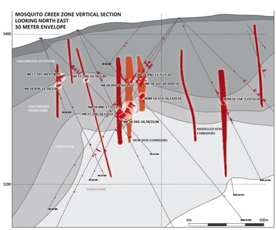 Mosquito Creek Zone Vertical Section (CNW Group/Barkerville Gold Mines Ltd.)