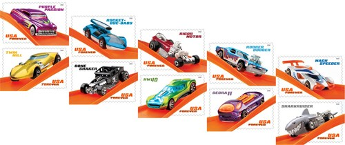 For the first time, Hot Wheels car designs will grace the face of Forever stamps for fans of all ages to enjoy.