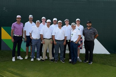 Nine Special Olympics athletes with Rafa Cabrera Bello and and J.J. Spaun before play