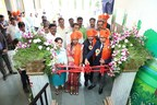 Right to left: Amit Bansal, Managing Director of Corning India; Subhajit Das – Plant Manager, Corning India; Baby-tai Buttepatil, Sarpanch, Grampanchayat Varale and Indira Aswar, Block Development Officer, Zilha Parishad Pune District cut the ribbon and inaugurate the Varale ZP School, rebuilt by Corning India (PRNewsfoto/Corning Incorporated)