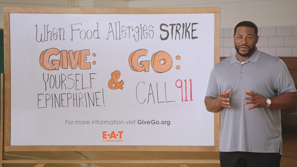 "Hall of Fame football player Jerome Bettis stars in new PSA, ""Give and Go"", launched by End Allergies Together (E.A.T.). The PSA will empower people to know what to do when a severe food allergy reaction strikes. It airs online and in movie theaters later this month. E.A.T. is a non-profit organization that funds research to help solve the growing food allergy epidemic."