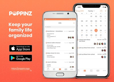 Poppinz Family Organizer app. Shared Calendar, lists, contacts.