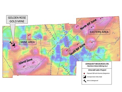 Figure 1: VTEM geophysical map showing exploration zones and recommended diamond drill holes (CNW Group/Conquest Resources Limited)