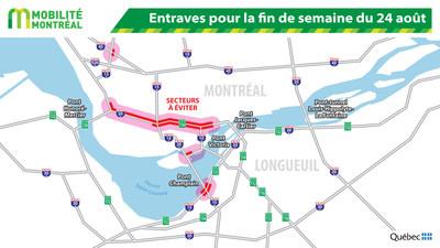 Entraves pour la fin de semaine du 24 août (Groupe CNW/Ministère des Transports, de la Mobilité durable et de l'Électrification des transports)