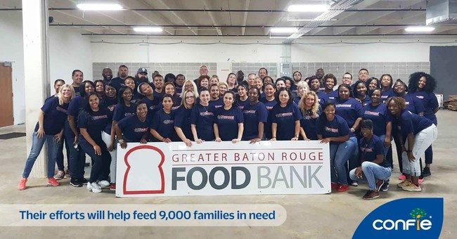 On July 24, 2018, 64 employees from USAgencies, a subsidiary of Confie, spent three hours sorting through more than 40,000 pounds of food at the Greater Baton Rouge Food Bank. Their efforts will help feed 9,000 families in need.