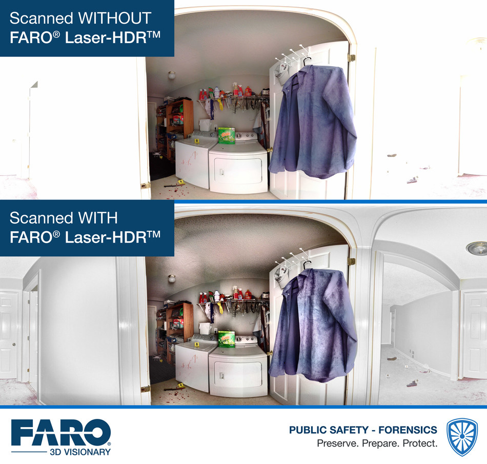FARO® Laser-HDRTM (patent pending), another FARO proprietary innovation, improves on conventional multi-exposure HDR techniques by intelligently enhancing photographs with laser intensity from the Focus Laser Scanner.