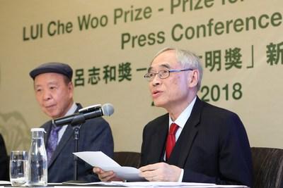 Professor Lawrence J. Lau apresenta os laureados com o prêmio deste ano e os respectivos júris que selecionaram entre todas as inscrições para escolher o laureado mais digno que impacta o mundo inteiro de cada respectiva área. (PRNewsfoto/LUI Che Woo Prize Limited)