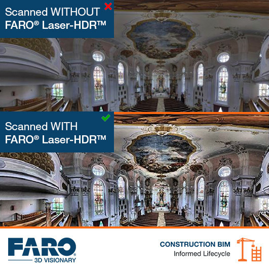 The new FARO Laser-HDR (patent pending) feature in SCENE 2018 improves on conventional multi-exposure HDR techniques by intelligently combining a laser scan image and a photograph through a proprietary FARO process.