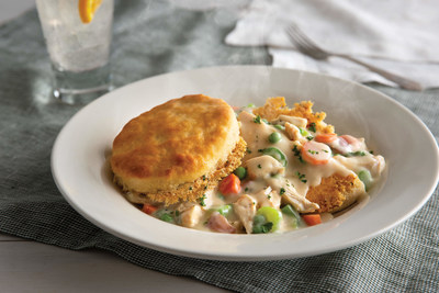 The Parmesan Crusted Biscuit Pot Pie, which is a fresh take on Cracker Barrel's biscuit heritage, features an oversized, fresh-baked buttermilk biscuit with a griddled, crispy parmesan crust atop slow-simmered chicken, peas, carrots, celery and onions, all in a rich creamy sauce seasoned with hints of pepper and thyme