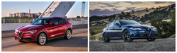 The 2018 Alfa Romeo Stelvio SUV, left, and the 2018 Alfa Romeo Giulia are available for leases starting at $299/month at Alfa Romeo of Glendale during its Labor Day sales event.