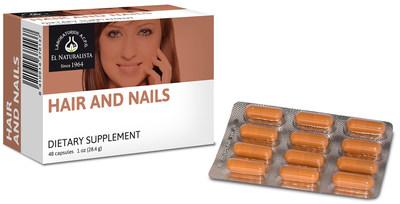 Hair and Nails contains vitamin B6, folate, vitamin B12, iron, zinc, cysteine, methionine, taurine, soy lecithin, as well as an abundance of keratin protein.
