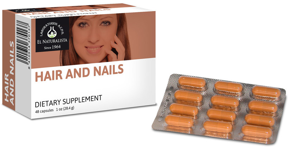 Hair and Nails contains vitamin B6, folate, vitamin B12, iron, zinc, cysteine, methionine, taurine, soy lecithin, as well as an abundance of keratin protein.
