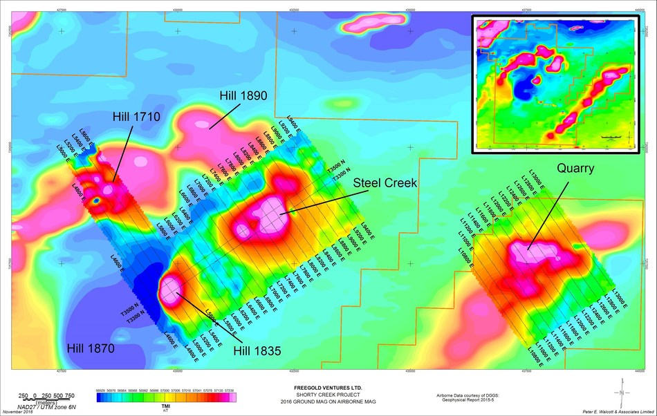Freegold has not as yet collected sufficient data to determine how the downhole drill intervals might relate to the actual true thickness of mineralization. (CNW Group/Freegold Ventures Limited)
