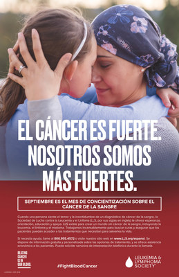 "Blood Cancer Awareness Month poster, ""CANCER IS TOUGH. WE ARE TOUGHER"" in Spanish."