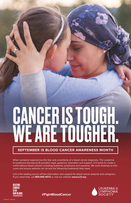 "Blood Cancer Awareness Month poster, ""CANCER IS TOUGH. WE ARE TOUGHER""."
