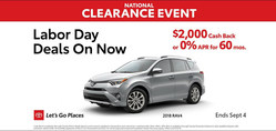 National Clearance Event information for the 2018 Toyota RAV4 at Toyota Vacaville (PRNewsfoto/Toyota Vacaville)
