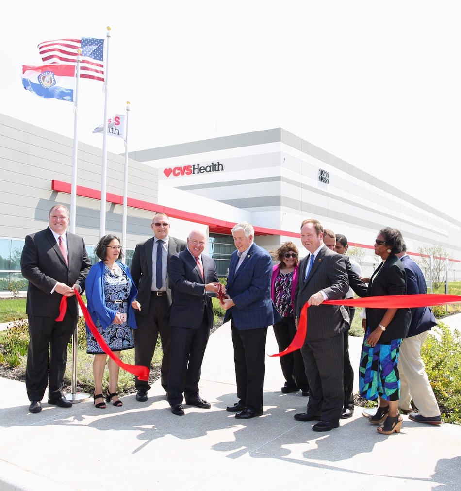 Missouri Governor Mike Parson, Chief Policy & External Affairs Officer of CVS Health Tom Moriarty, and others attend the grand opening of a new CVS Pharmacy distribution center in Kansas City on August 24th, 2018. The new center will add more than 360 new jobs to the area.
