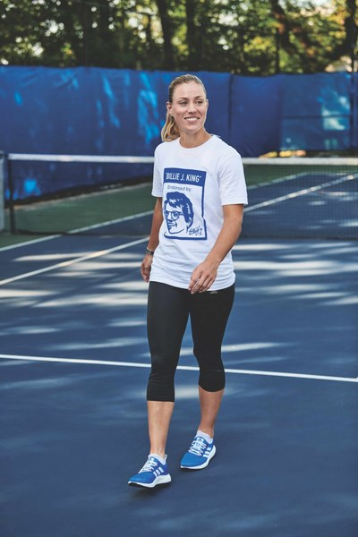 Wimbledon champion Angelique Kerber supports the adidas Here to Create Change campaign with Billie Jean King in New York city