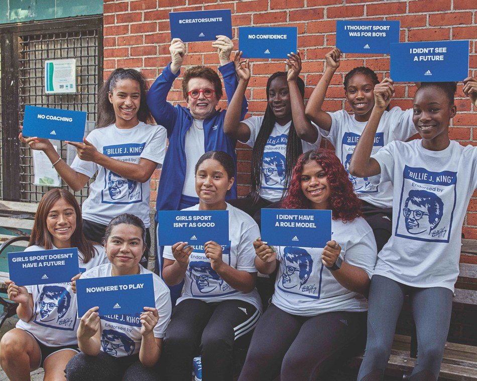 Billie Jean King collaborates with adidas to create change for young female athletes in New York for Women's Equality Day