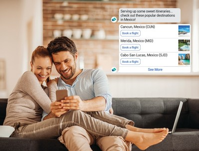 WestJet's chatbot on Facebook Messenger enables guests to discover destinations, book trips and receive instant support (CNW Group/WESTJET, an Alberta Partnership)
