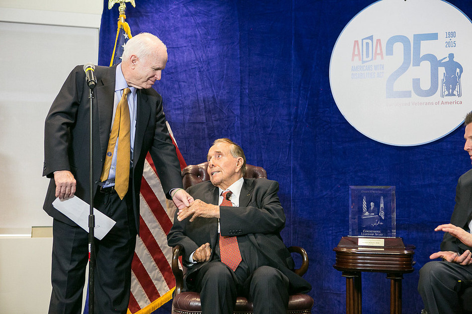 The late Senator John McCain pictured with former Senator Bob Dole at Paralyzed Veterans of America's 25th anniversary celebration of the ADA in 2015.
