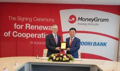 Signing ceremony for the renewal of the agreement between MoneyGram and Woori Bank