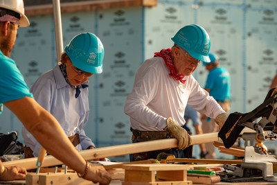 Former President Jimmy Carter and former First Lady Rosalynn Carter begin work Monday on a new Habitat for Humanity home in Mishawaka, Indiana. Photos may be credited to Habitat for Humanity International.