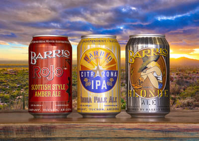 Pictured are Barrio Brewing craft beers packaged in environmentally-friendly beverage cans from Ardagh.